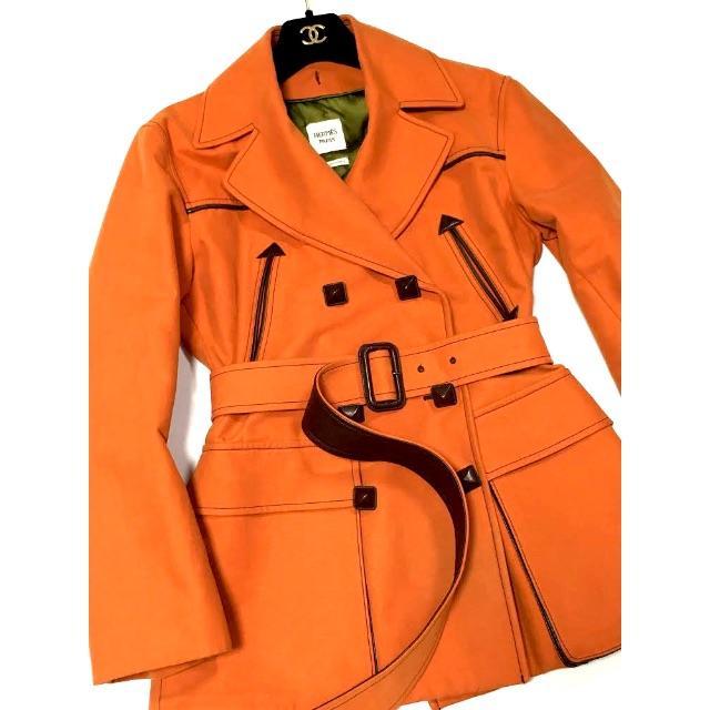 Hermes(エルメス)の新同 エルメス ムートンメドールスタッズ トレンチ コート E1283 レディースのジャケット/アウター(トレンチコート)の商品写真