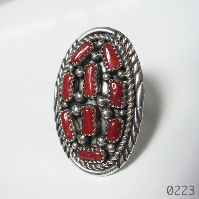 コーラル インディアンジュエリー シルバー 純銀 ツイストワイヤー 珊瑚 15号 レディースのアクセサリー(リング(指輪))の商品写真