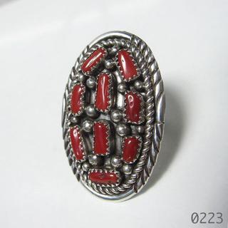 コーラル インディアンジュエリー シルバー 純銀 ツイストワイヤー 珊瑚 15号(リング(指輪))