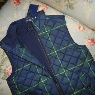 ラルフローレン(Ralph Lauren)の新品☆ラルフローレン キルティングベスト 140  紺緑チェック(ジャケット/上着)