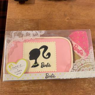 バービー(Barbie)の【新品】Barbieポーチとミニタオルのset(ポーチ)