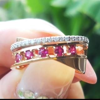 ダイヤモンド ルビー リング k18 金 Pt900 ダイヤ 指輪 リング 美品(リング(指輪))