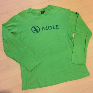 エーグル(AIGLE)のAIGLE ロンT メンズ L グリーン(Tシャツ/カットソー(七分/長袖))