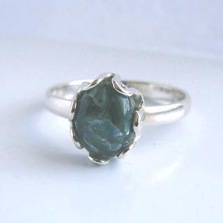 訳あり特価★18.5号(小) セラフィナイトリング  新品 SV925 天然石(リング(指輪))