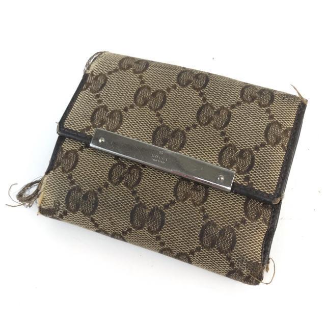 Gucci - ❤️セール❤️ GUCCI グッチ GGキャンバス 二つ折り 財布 ブラウン系の通販 by 即購入ok ブランドショップ's shop|グッチならラクマ