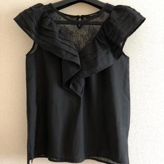 ローズバッド(ROSE BUD)の処分価格! ROSE BUD レース フリル ブラウス トップス 黒 ブラック(シャツ/ブラウス(半袖/袖なし))