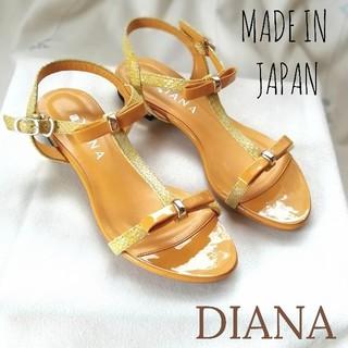 ダイアナ(DIANA)の『DIANA』マンゴーカラー♪エナメル*ローヒール*リボン*サンダル/23.5㎝(サンダル)