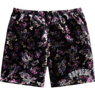 シュプリーム(Supreme)のsupreme floral velour short Sサイズ(ショートパンツ)