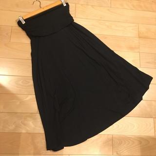 ギャップ(GAP)のGAP スカート XS ワンピース 黒 2WAY ジャージー ロング ミモレ(ロングスカート)