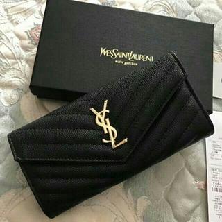 イヴサンローランボーテ(Yves Saint Laurent Beaute)の超美品 YSL サンローラン 長財布 黒い レディース (長財布)