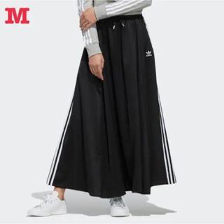 アディダス(adidas)のアディダス オリジナルス 3ストライプ ロング サテンスカート 黒 M 新品(ロングスカート)