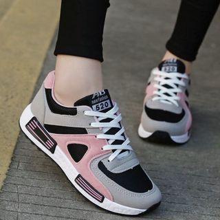 スポーツシューズ女性のカジュアルシューズ通気の厚底ランニング靴(スニーカー)