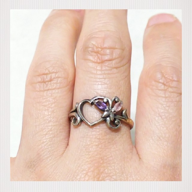 【StoneMarket】ハートシルバーリング☆天然石☆送料込み レディースのアクセサリー(リング(指輪))の商品写真