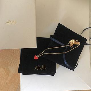 アーカー(AHKAH)の未使用 アーカー 珊瑚 サンゴ ハート ネックレス AHKAH 18k YG 金(ネックレス)