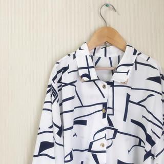 幾何学*モード系*ビンテージシャツ*古着(シャツ/ブラウス(長袖/七分))