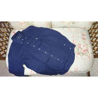 ラルフローレン(Ralph Lauren)の新品☆ラルフローレン 長袖シャツ 麻 紺 US L (Tシャツ/カットソー(七分/長袖))