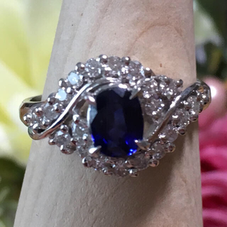 深いブルー  サファイア プラチナリング 7.5号(リング(指輪))