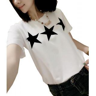 L スリースター 星柄 プリント レディース 半袖 カジュアル Tシャツ(Tシャツ(半袖/袖なし))