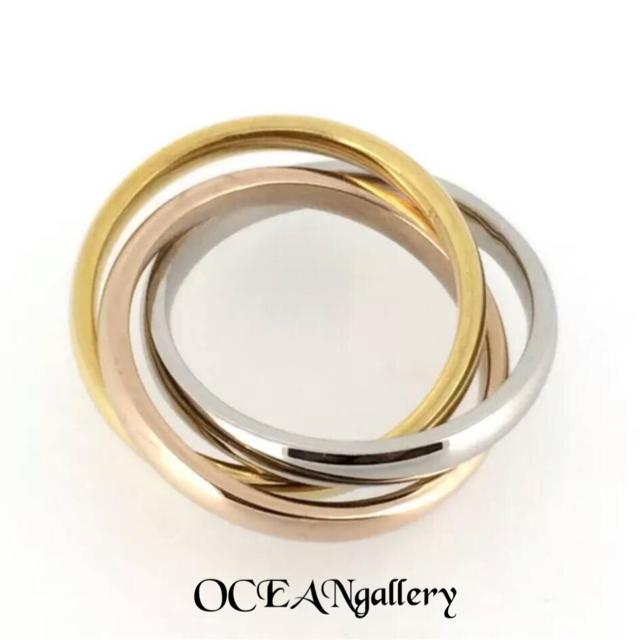 送料無料 20号 サージカルステンレス 三色三連リング 指輪 トリニティリング レディースのアクセサリー(リング(指輪))の商品写真