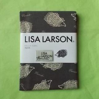 リサラーソン(Lisa Larson)のLisa Larson 麻混生地 Harriet ダークグレー地・白ハリネズミ(生地/糸)