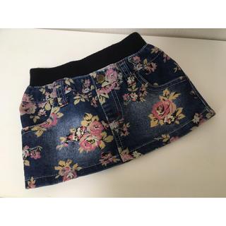 ニシマツヤ(西松屋)の今から着れる!西松屋♡ウエストリブ花柄デニムスカート 90 美品 送料無料 ♡(スカート)