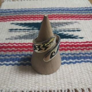 インディアン(Indian)のインディアンジュエリー ホピ族 オーバーレイ シルバーリング 指輪 ♯ココペリ(リング(指輪))