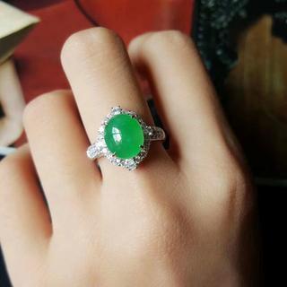 559 k18金リング ゴールド 楕円 翡翠リング ダイヤモンドリング 指輪 (リング(指輪))