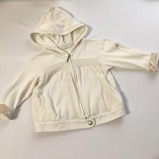 バーバリー(BURBERRY)のバーバリー ジップアップパーカー 80 白 アウター 羽織り(ジャケット/コート)