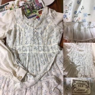 ガニーサックス(GUNNE SAX)のgunne sax 70s vintage 裾二重 豪華なふんわり ドレス(ひざ丈ワンピース)