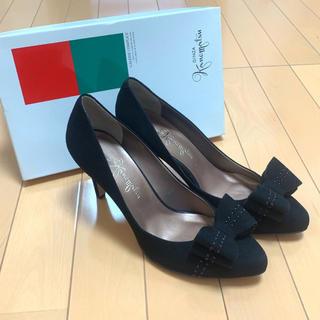 GINZA Kanematsu - 銀座かねまつ❤新品❤スエードリボンパンプス(ブラック)25.0