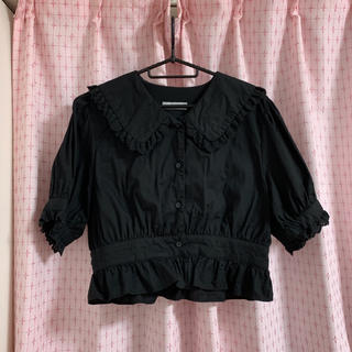 ウィゴー(WEGO)の半袖 ブラウス 黒 丸襟 ブラック ゆめかわいい 病みかわいい 重ね着(シャツ/ブラウス(半袖/袖なし))