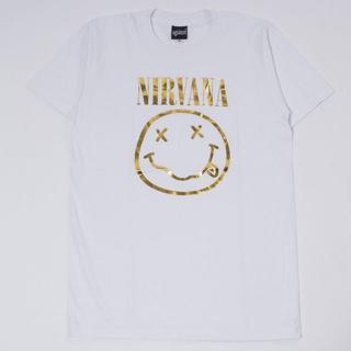 新品ニルヴァーナロックTシャツ S~XL/ ホワイトagt-0098(Tシャツ/カットソー(半袖/袖なし))