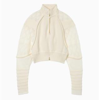 マメ(mame)の最終価格 mame 19AW完売ニット 白 サイズ1(ニット/セーター)