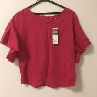 ジーユー(GU)のGU ピンク リネンブレンドフレアスリーブシャツ(シャツ/ブラウス(半袖/袖なし))