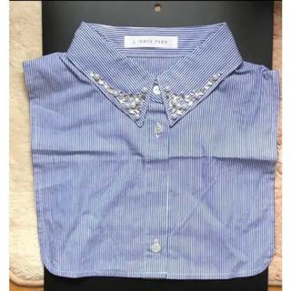 ローリーズファーム(LOWRYS FARM)のローリーズファーム  付け襟 ビジュー付き Yシャツ スストライプ 未使用(つけ襟)