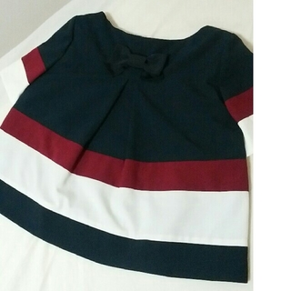 エムズグレイシー(M'S GRACY)の♡バックリボン♡きれいめトリコロールトップス(Tシャツ(半袖/袖なし))