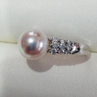ミキモト(MIKIMOTO)の艶々テリテリ 品位の高い ❣️アコヤ真珠(8㎜)&ダイヤモンドリング (8号)(リング(指輪))