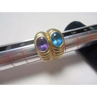 ♡♡k18ブルートパーズ&アメジストデザインリング♬(リング(指輪))