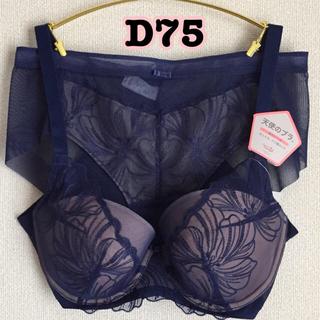 トリンプ(Triumph)のD75/L ◆トリンプ TR487 天使のブラ 魔法のハリ感 ブラ&ショーツ 青(ブラ&ショーツセット)