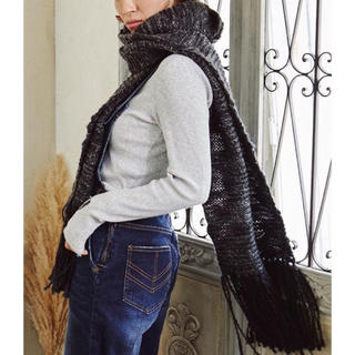 アリシアスタン(ALEXIA STAM)の完売品♡Fringe Long Color Knit Muffler black(マフラー/ショール)