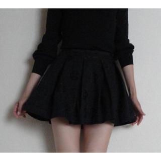 ルシェルブルー(LE CIEL BLEU)の【美品】◆LE CIEL BLEU◆黒の 脇ファスナー ミニ フレア スカート(ミニスカート)