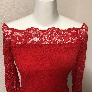エイチアンドエム(H&M)のH&M 総レース 長袖トップス シースルー 透け感 セクシー 赤 red(Tシャツ(長袖/七分))