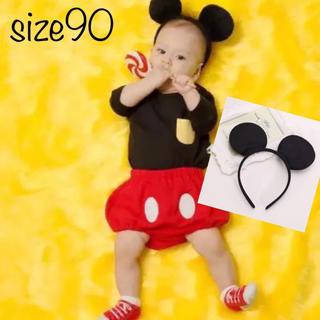 ミッキーマウス(ミッキーマウス)のミッキー  コスチューム ミッキー コスプレ❤️サイズ90 タグ表記95(Tシャツ/カットソー)