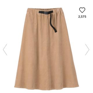 ジーユー(GU)のGU コーデュロイ フレアミディスカート ベージュ XL スカート(ひざ丈スカート)