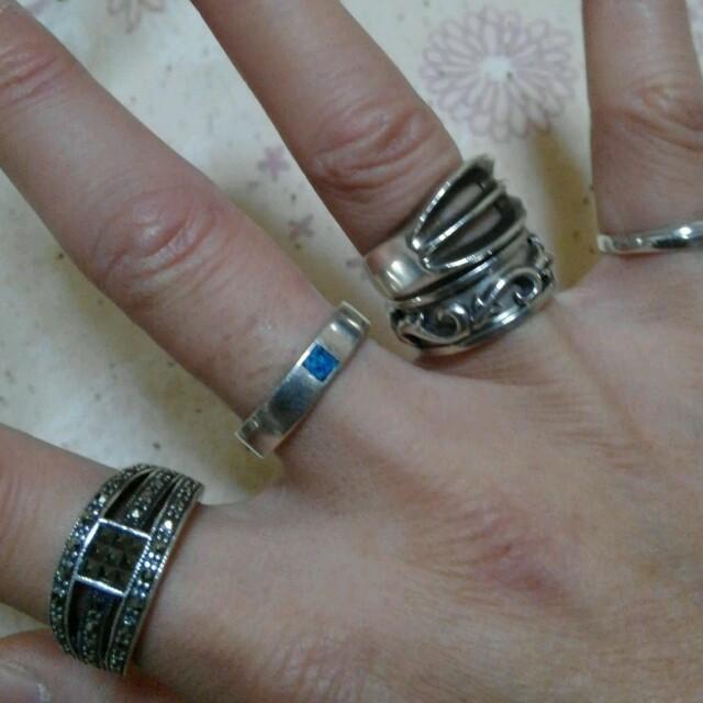 シルバー925青石付きリング メンズのアクセサリー(リング(指輪))の商品写真