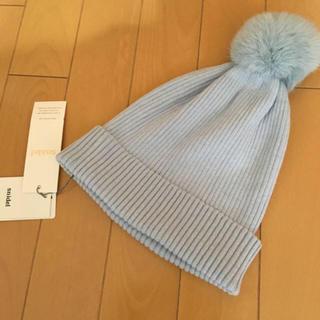 スナイデル(snidel)のスナイデル ラビットファー ニット帽♡ リリーブラウン ミュウミュウ(ニット帽/ビーニー)