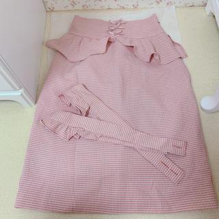 リズリサ(LIZ LISA)のLIZLISA ピンク ギンガムチェック スカート(ひざ丈スカート)