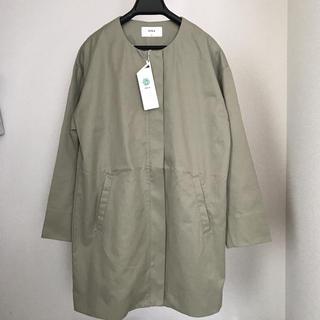 イッカ(ikka)の新品 ikka イッカ ダブルクロスノーカラーコート コート XL LL カーキ(ロングコート)