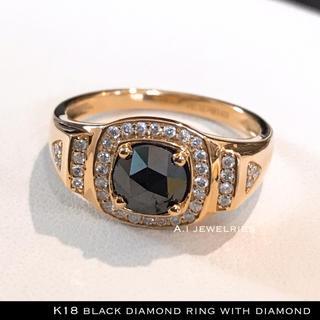 リング 18金 ダイヤ k18 天然 ブラック ダイヤモンド リング 天然石 (リング(指輪))