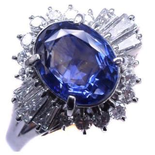 大粒天然サファイア Pt900 ダイヤモンド リング 送料無料(リング(指輪))